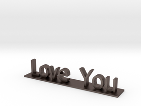 Love You in Polished Bronzed Silver Steel