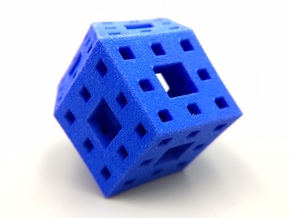 Rhombic Dodecahedron Menger Sponge in Blue Strong & Flexible Polished