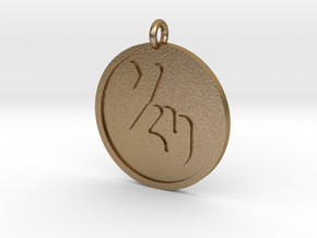 Fingers Crossed Pendant in Polished Gold Steel