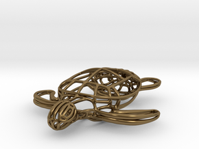 Turtle Wireframe Keychain in Polished Bronze