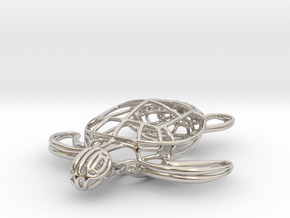 Turtle Wireframe Keychain in Rhodium Plated Brass