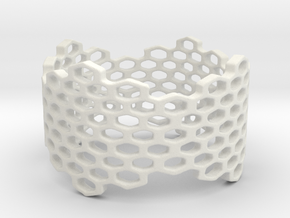 Honeycomb Band Ring in White Natural Versatile Plastic: 6 / 51.5