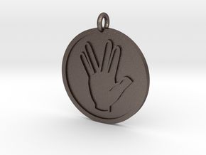 Vulcan Salute Pendant in Polished Bronzed Silver Steel