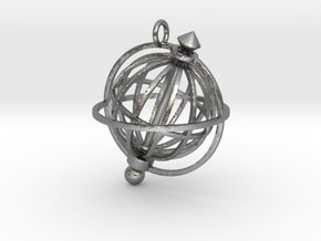 Spinning Globe Pendant in Natural Silver (Interlocking Parts): Medium