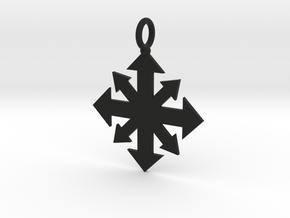 Simple Chaos star pendant  in Black Natural Versatile Plastic