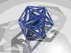 Chained die 20-sided in Polished Bronzed Silver Steel