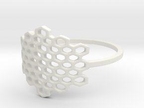 Honeycomb Ring in White Natural Versatile Plastic: 6 / 51.5