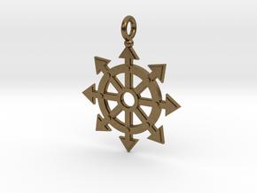 Chaos star wheel pendant in Natural Bronze