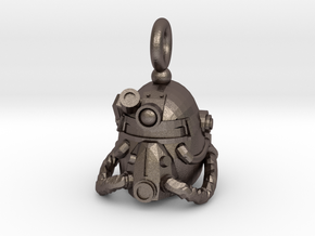 Power armor pendant in Polished Bronzed Silver Steel