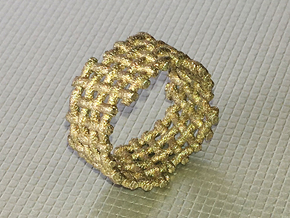 Woven Twisted Ring in Polished Bronzed Silver Steel: 5 / 49