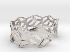 STEIN Cuff Bracelet in Rhodium Plated Brass: Medium