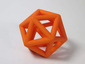 Icosahedron Ornament  in Orange Strong & Flexible Polished
