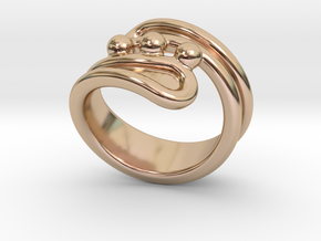 Threebubblesring 15 - Italian Size 15 in 14k Rose Gold Plated Brass