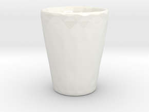 Low Poly Shot Glass in Gloss White Porcelain