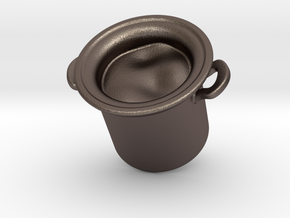 Big Pot Earring  in Polished Bronzed Silver Steel