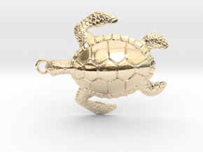 Pendant Turtle01 in 14k Gold Plated Brass