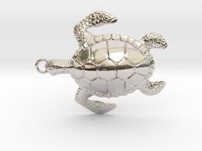Pendant Turtle01 in Rhodium Plated Brass