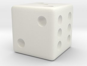 Weighted Dice (Favors a Roll of 3) in White Natural Versatile Plastic