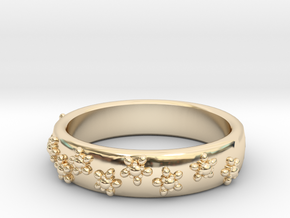 Flower Band in 14K Yellow Gold