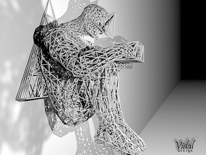 Tied Hands Sculpture Wireframe - 260mm in White Strong & Flexible