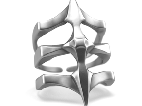 Two Spikes - Sterling Silver Ring in Polished Silver: 7 / 54