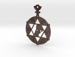 The Angel Of Saturn (steel or plastic pendant) in Polished Bronze Steel
