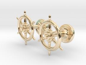 Ships Wheel cufflinks in 14k Gold Plated Brass