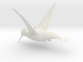 Hummingbird Hanging Ornament in White Natural Versatile Plastic
