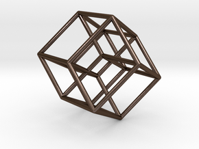 Tesseract in Polished Bronze Steel