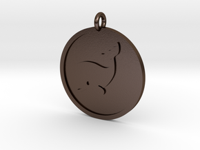 Whale Pendant in Polished Bronze Steel