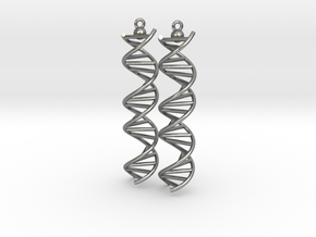 DNA Molecule Earrings, ladder, 2 pieces. in Raw Silver