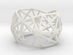 Catalan Bracelet - Disdyakis Triacontahedron in White Natural Versatile Plastic: Large