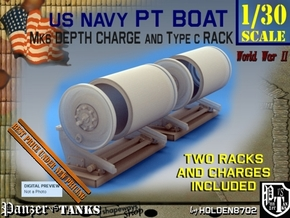 1-30 PT Boat Depth Charge W Rack Set 1 in Smooth Fine Detail Plastic