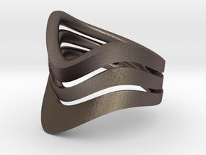Loop Ring in Polished Bronzed Silver Steel: 8.25 / 57.125