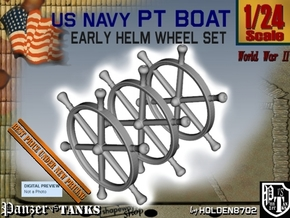 1-24 PT Boat Helm Wheel Set in White Processed Versatile Plastic