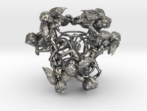 Cherub Tetrahedron in Polished Silver