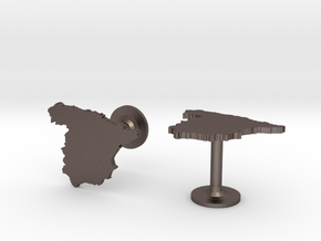Spain Cufflinks in Polished Bronzed Silver Steel