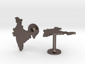 India Cufflinks in Polished Bronzed Silver Steel