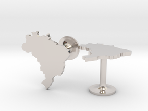 Brazil Cufflinks in Rhodium Plated Brass