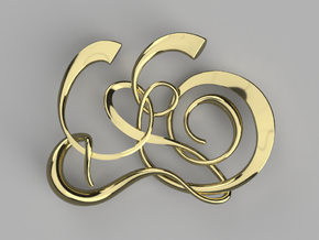 Gijsbrechts Calligraphy Pendant in 14k Gold Plated