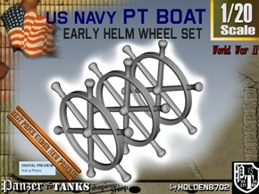 1-20 PT Boat Helm Wheel Set in White Processed Versatile Plastic