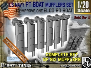 1-20 PT Boat Mufflers Set in Smooth Fine Detail Plastic