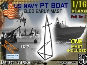 1-16 Elco PT Boat Early Mast in White Natural Versatile Plastic