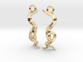 Caenorhabditis Nematode Worm Earrings in 14k Gold Plated Brass