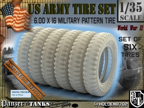 1-35 Tire 600x16 SIX UNITS Set in Smooth Fine Detail Plastic