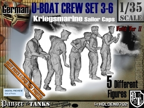1-35 German U-Boot Crew Set3-6 in Smooth Fine Detail Plastic