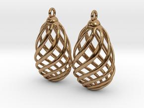 Flasket Earrings in Cast Metal in Polished Brass