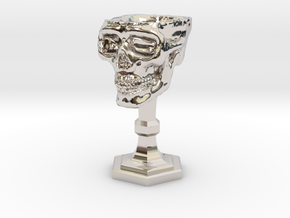 Chalice: Skull Chalice for 1:24 scale (1/2 scale) in Rhodium Plated Brass