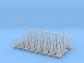 'N Scale' - Road Construction Cones & Barrels in Smooth Fine Detail Plastic