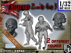 1-32 Military Zombie Set 5 in Smooth Fine Detail Plastic